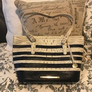 Beautiful cream and black Brahmin with cover bag .
